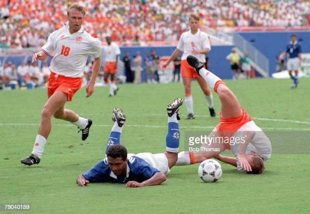 World Cup Finals Dallas USA 9th July Brazil 3 v Holland 2 Brazil's Romario lies flat out after a challenge by Holland's Jan Wouters