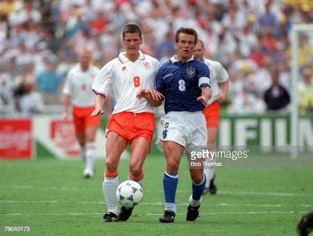 World Cup Finals, Dallas, USA, 9th July Brazil 3 v Holland 2, Holland's Wim Jonk battles for the ball with Brazil's Dunga