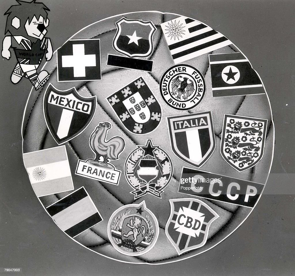 World Cup Finals, 1966. England. A poster shows the badges of all sixteen nations participating in the 1966 tournament. Top left is the tournament's mascot World Cup Willie. : News Photo