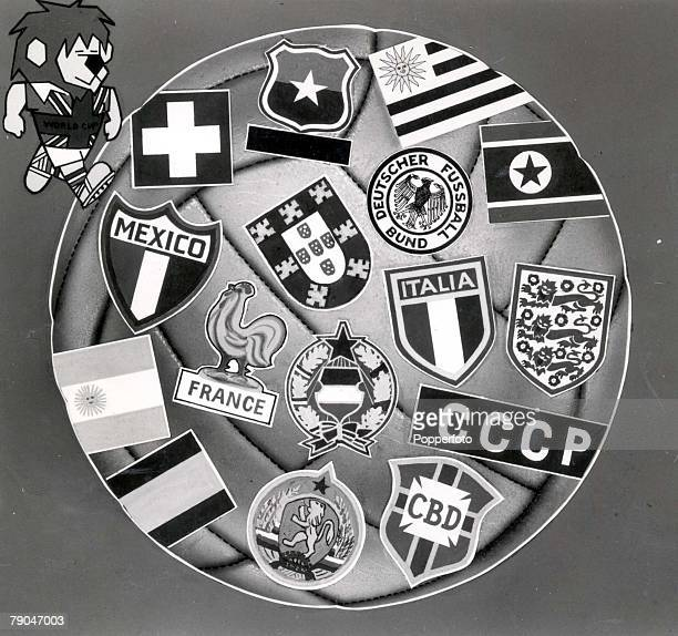 World Cup Finals England A poster shows the badges of all sixteen nations participating in the 1966 tournament Top left is the tournament's mascot...