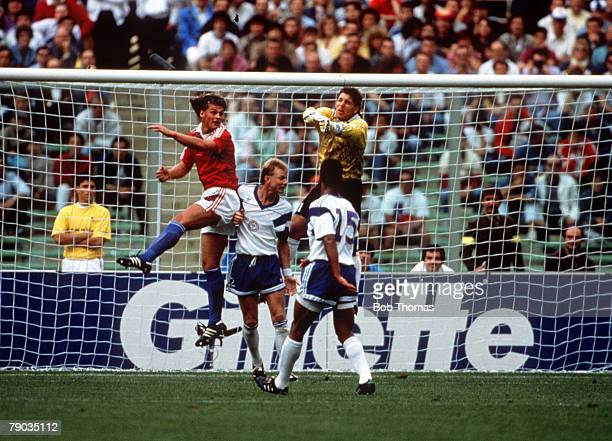 World Cup Finals, Florence, Italy, 10th June Czechoslovakia 5 v USA 1, USA's goalkeeper Tony Meola punches the ball clear as Czechoslovakia attack