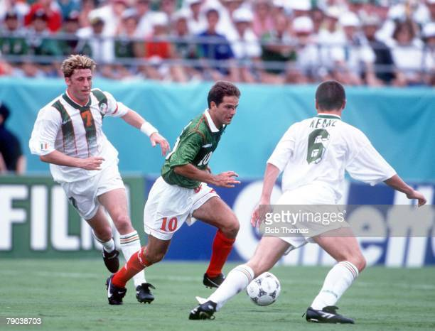 World Cup Finals, Florida, USA, 24th June Mexico 2 v Republic of Ireland 1, Mexico's Luis Garcia faced by Ireland's Roy Keane as Andy Townsend looks...