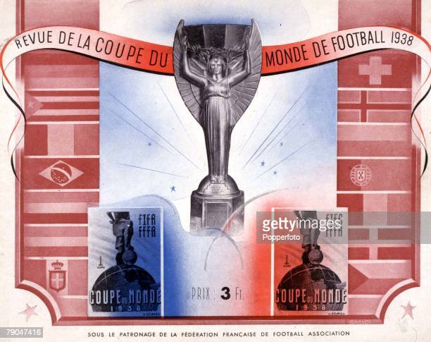 World Cup Finals France Cover illustration from a souvenir brochure featuring the Jules Rimet trophy which was won by Italy who defeated Hungary 42...