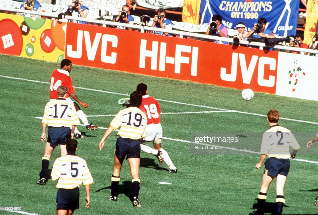 World Cup Finals, Genoa, Italy, 11th June, 1990, Costa Rica 1 v Scotland 0, Costa Rica's Juan Cayasso (14) scores the only goal of the game watched by a crowd of Scottish defenders