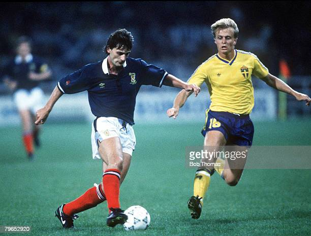 World Cup Finals Genoa Italy 16th June Scotland 2 v Sweden 1 Scotland's Craig Levein controls the ball watched by Sweden's Jonas Thern