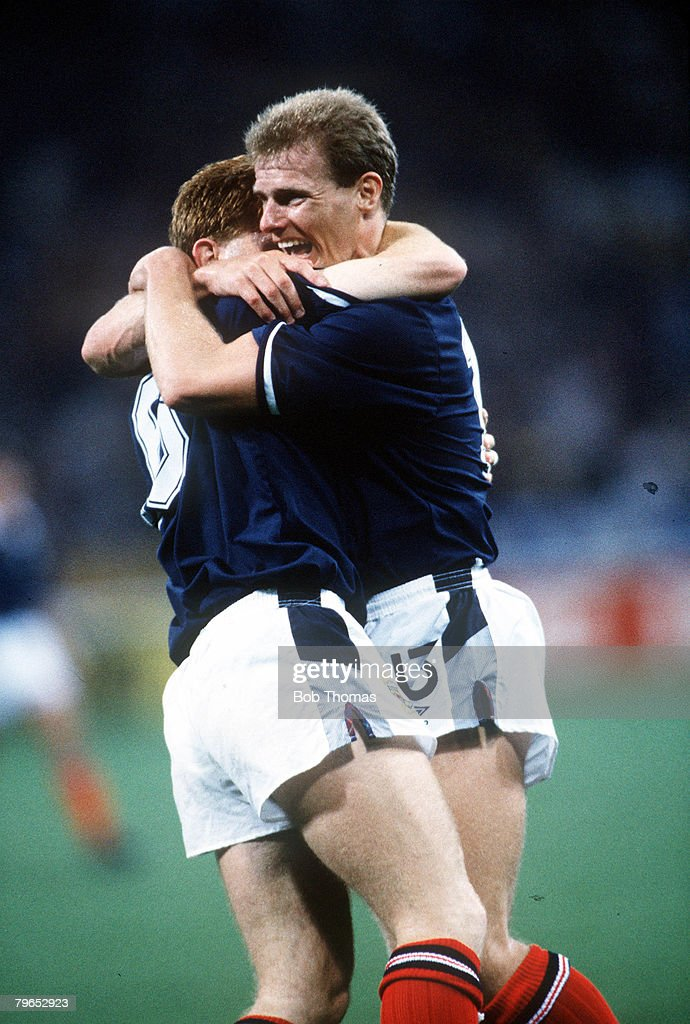 1990 World Cup Finals, Genoa, Italy, 16th June, 1990, Scotland 2 v Sweden 1, Scotland's Stuart McCall is congratulated by teammate Gordon Durie (right) after scoring his goal : News Photo