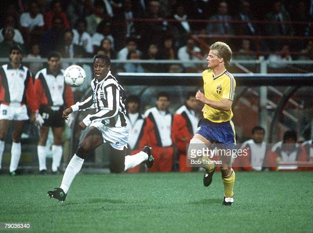 World Cup Finals Genoa Italy 20th June Costa Rica 2 v Sweden 1 Costa Rica's Hernan Medford is chased for the ball by Sweden's Stefan Schwarz