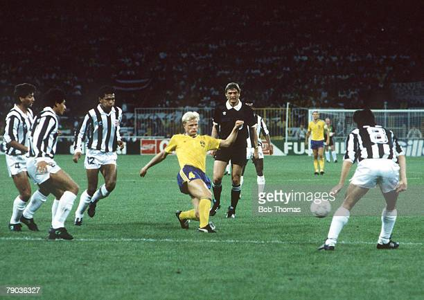 World Cup Finals Genoa Italy 20th June Costa Rica 2 v Sweden 1 Sweden's Peter Larsson on the ball surrounded by Costa Rica defenders