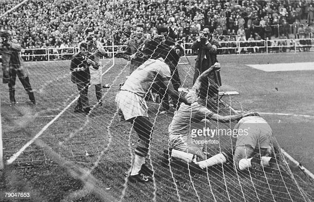 World Cup Finals Gothenburg Sweden 15th June Brazil 2 v Soviet Union 0 Brazilian players rush to congratulate Pele in the back of the net after he...