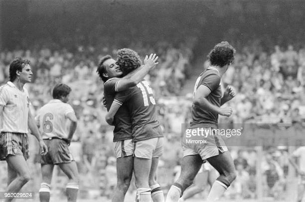 World Cup Finals Group Four match in Bilbao Spain England 3 v France 1 England's Ray Wilkins celebrates a goal with teammate Graham Rix 16th June 1982
