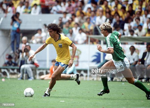 World Cup Finals Guadalajara Mexico 12th June Brazil 3 v Northern Ireland 0 Brazil's Casagrande is chased for the ball by Northern Ireland's Alan...