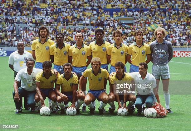 World Cup Finals Guadalajara Mexico 12th June Brazil 3 v Northern Ireland 0 The Brazil team pose for a group photograph before the match