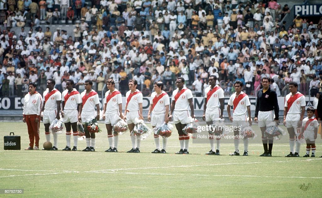 1970 World Cup Finals, Guadalajara, Mexico 14th June, 1970. Brazil 4 v Peru 2. The Peruvian team line up as they listen to their national withj the team mascot prior quarter-final match with Brazil. : News Photo