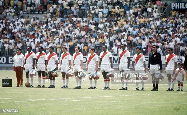 World Cup Finals Guadalajara Mexico 14th June Brazil 4 v Peru 2 The Peruvian team line up as they listen to their national withj the team mascot...