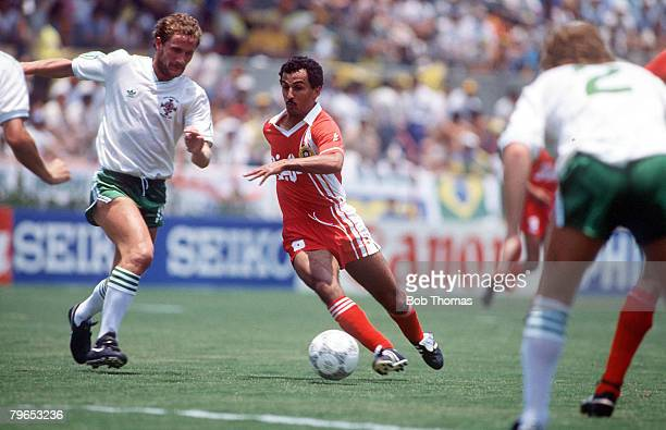 World Cup Finals Guadalajara Mexico 3rd June Algeria 1 v Northern Ireland 1 Northern Ireland's Billy Hamilton is beaten by Algeria's KaciSaid