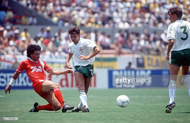 World Cup Finals Guadalajara Mexico 3rd June Algeria 1 v Northern Ireland 1 Northern Ireland's Steve Penney battles for the ball with Algeria's...
