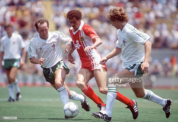 World Cup Finals Guadalajara Mexico 3rd June Algeria 1 v Northern Ireland 1 Algeria's Salah takes on Northern Ireland's David McCreery and Jimmy...