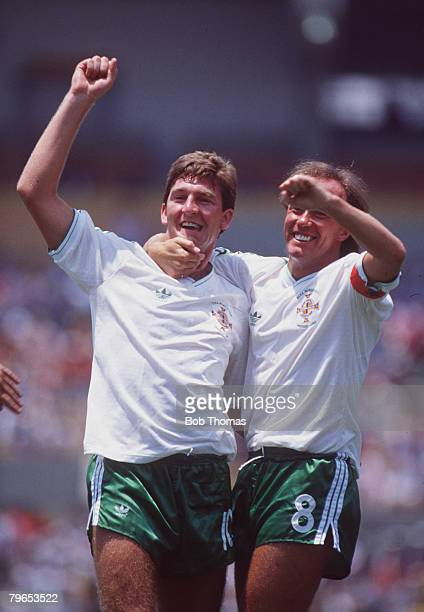 World Cup Finals Guadalajara Mexico 3rd June Algeria 1 v Northern Ireland 1 Northern Ireland's Norman Whiteside celebrates his goal with Sammy McIlroy
