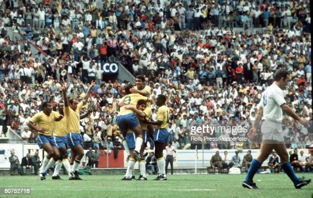 World Cup Finals Guadalajara Mexico 3rd June Brazil 4 v Czechoslovakia 1 Brazilian forward Rivelino is swamped by teammates after he scored his...