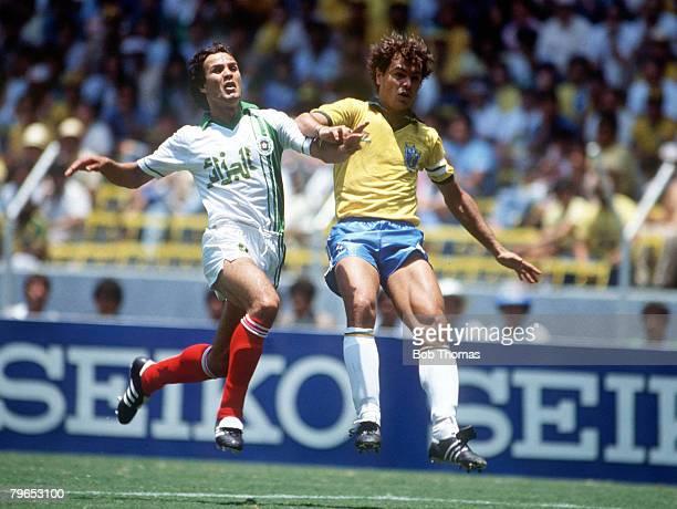 World Cup Finals Guadalajara Mexico 6th June Brazil 1 v Algeria 0 Algeria's Rabah Madjer battles for the ball with Brazil's Edinho