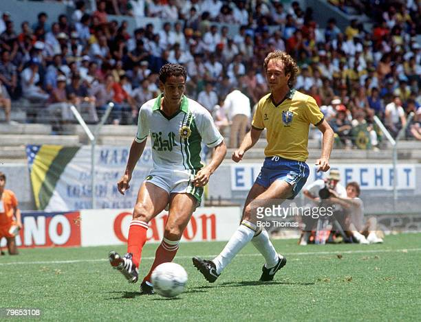 World Cup Finals Guadalajara Mexico 6th June Brazil 1 v Algeria 0 Brazil's Falcao chases Algeria's Fawzi Mansouri for the ball