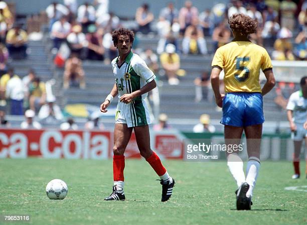 World Cup Finals Guadalajara Mexico 6th June Brazil 1 v Algeria 0 Brazil's Lakhdar Belloumi on the ball