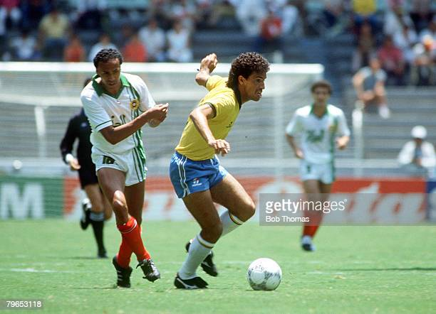 World Cup Finals Guadalajara Mexico 6th June Brazil 1 v Algeria 0 Algeria's Abdelhamid is beaten by Brazil's Careca