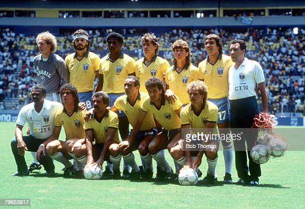 World Cup Finals Guadalajara Mexico 6th June Brazil 1 v Algeria 0 Brazil pose for a team group before the match
