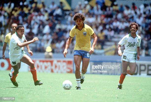 World Cup Finals Guadalajara Mexico 6th June Brazil 1 v Algeria 0 Brazil's Casagrande takes the ball past Algeria's Abdel Hamid
