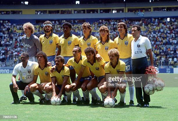 World Cup Finals Guadalajara Mexico 6th June Brazil 1 v Algeria 0 The Brazilian team line up before the match