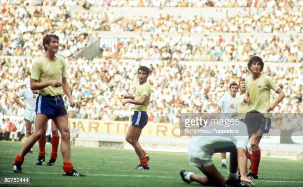 World Cup Finals Guadalajara Mexico 6th June Romania 2 v Czechoslovakia 1 Czechoslovakia's Andrej Kvasnak surrounded by Romaian defenders Neagu and...