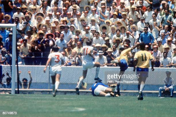 World Cup Finals Guadalajara Mexico 7th June England 0 v Brazil 1 Brazil's Jairzinho settles the match billed as 'The clash of Champions' by scoring...