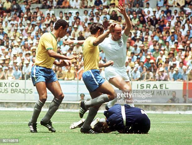 World Cup Finals Guadalajara Mexico 7th June England 0 v Brazil 1 England's Bobby Charlton is stopped by Brazilian goalkeeper Felix as defenders...