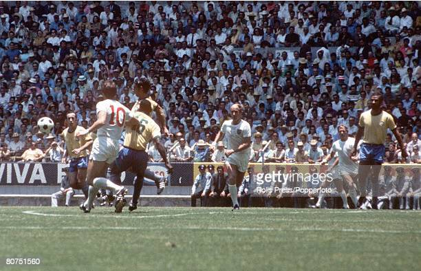 World Cup Finals Guadalajara Mexico 7th June England 0 v Brazil 1 Action during the match shows England forwards Geoff Hurst Bobby Charlton and...