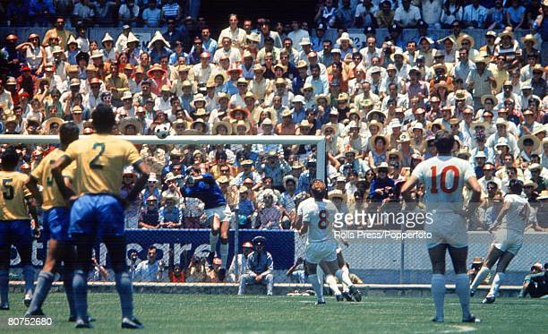 World Cup Finals Guadalajara Mexico 7th June England 0 v Brazil 1 England goalkeeper Gordon Banks punches clear a Brazilian attack as his teammates...