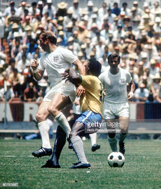 World Cup Finals Guadalajara Mexico 7th June England 0 v Brazil 1 England attacker Bobby Charlton battles for the ball with Brazil's Pele during the...