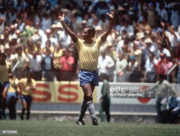 World Cup Finals Guadalajara Mexico 7th June England 0 v Brazil 1 Brazilian defender Brito raises his arms in celebration after teammate Jairzinho...