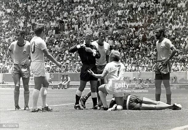 World Cup Finals Guadalajara Mexico 7th June England 0 v Brazil 1 England 's Francis Lee is about to be booked by the referee for fouling Brazilian...