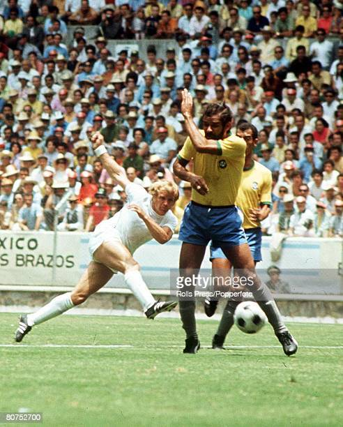 World Cup Finals Guadalajara Mexico 7th June England 0 v Brazil 1 England 's Francis Lee takes a shot at the Brazilian goal past defenders in the...