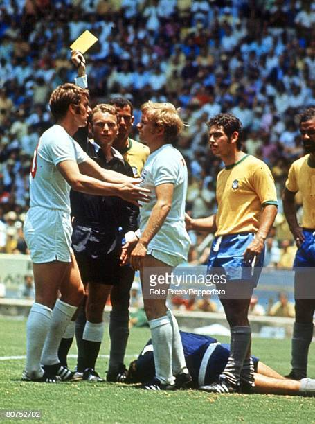 World Cup Finals Guadalajara Mexico 7th June England 0 v Brazil 1 England 's Francis lee is booked by the referee for fouling Brazilian goalkeeper...