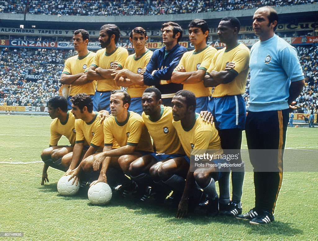 1970 World Cup Finals Guadalajara, Mexico. 7th June, 1970. England 0 v Brazil 1. The Brazil team line up as they listen to the National Anthems before their Group Three match. They are: Back row(L-R) Captain Carlos Alberto, Brito, Piazza, Felix, Clodoald : News Photo