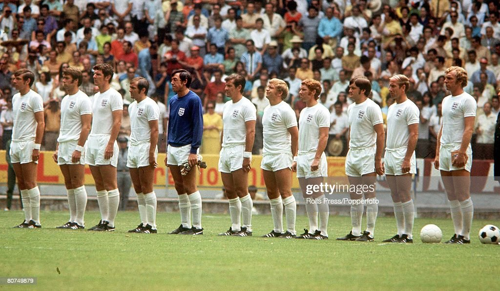 1970 World Cup Finals Guadalajara, Mexico 7th June, 1970. England 0 v Brazil 1. The England team line up before the Group Three match. They are L-R: Martin Peters, Geoff Hurst, Brian Labone, Terry Cooper, Gordon Banks, Alan Mullery, Francis lee, Alan Bal : News Photo