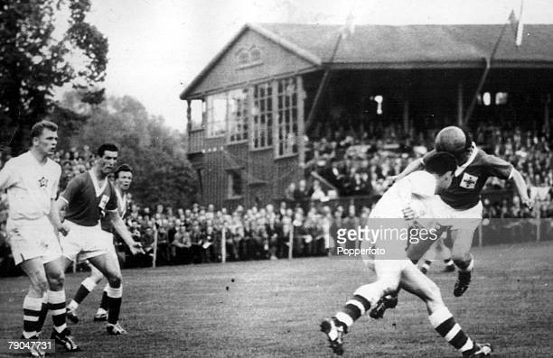 World Cup Finals Halmstad Sweden 8th June Northern Ireland 1 v Czechoslovakia 0 Irish insideright Cush heads in the game's only goal