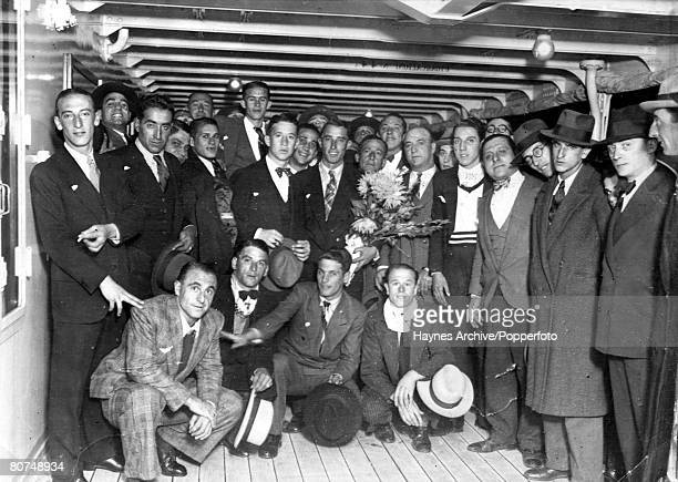 World Cup Finals Italy Argentine footballers and officials pictured aboard the Neptunia ship en route to participate in the 1934 Word Cup tournament