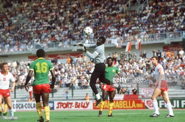 World Cup Finals La Coruna Spain 19th June Poland 0 v Cameroon 0 Cameroon's goalkeeper Thomas Nkono punches a Polish cross away