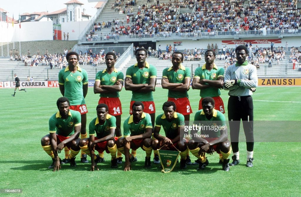 1982 World Cup Finals. La Coruna, Spain. 19th June, 1982. Poland 0 v Cameroon 0. Cameroon's starting line-up. : News Photo
