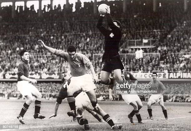 World Cup Finals Lausanne Switzerland 17th June Switzerland 2 v Italy 1 Swiss goalkeeper Parlier saves from Italian forward Pardolfi during their...