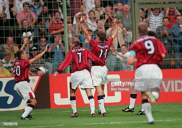 World Cup Finals Lens France 26th June England 2 v Colombia 0 England's Darren Anderton celebrates his goal