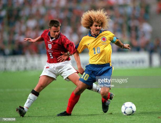 World Cup Finals Lens France 26th June England 2 v Colombia 0 England's Graeme Le Saux with Colombia's Carlos Valderrama