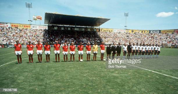World Cup Finals Leon Mexico 14th June England 2 v West Germany 3 The two teams line up prior to their QuarterFinal match